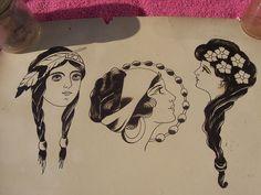 Vintage Flash, Traditional Tattoo Flash, Kuniyoshi, Art Tips, Old School, Tattoo Designs, Ink, Embroidery, History