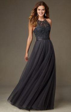Cheap Lace Tulle Grey Bridesmaid Dress BNNCL0012-SheinDressAU