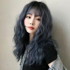 Hair Dye Colors, Hair Color Blue, Blue Wig, Ash Blue Hair, Korean Hair Color, Smokey Blue Hair, Kpop Hair Color, Dyed Hair Blue, Asian Hair Dyed