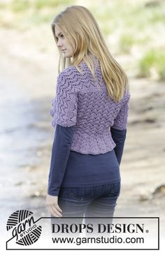 #Knit shoulder piece with #lace pattern by #DROPSDesign - pattern is free