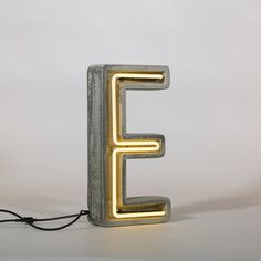 Néon Alphacrete Table lamp - Letter E - Indoor / outdoor E by Seletti - Design furniture and decoration with Made in Design