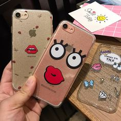 Cute Cartoon Phone Case For iPhone 7 7 Plus 6 6s Plus Glitters Soft TPU Spangle Eye Cover Red Lips Back Covers For iPhone 7 Case