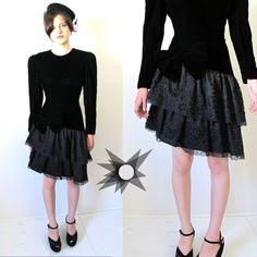 Vintage 80's Black Velvet Long Sleeve Dress by SatelliteVintageCo, $68.00
