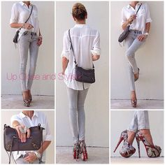 @upcloseandstylish #Forever21 shirt and jeans #Louboutin Higness heels and #Balenciaga bag.