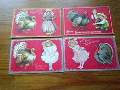 Vintage Thanksgiving Postcard Lot of 4 by LucysMother on Etsy, $14.00