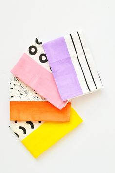 Inject some color and life to your napkins by making these color block pattern napkins in just 3 easy steps