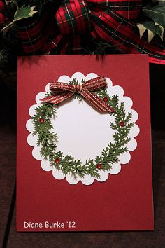 Card - Christmas wreath with bow