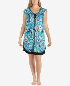 Ellen Tracy Plus Size Printed Pleated Chemise -