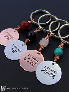 "Copper / Aluminum Keychain With ""I choose LOVE / PEACE / JOY / ME"" Affirmation And Stone #positive #heart #affirmation #uplifting #gift #idea #holidays #stocking #stuffer #meaningful #handmade #gemstone #handmadewithlove #keychain #keyring #beyoutiful #beautiful #stone #carnelian #red #key #keys #home #copper #aluminum #rose #quartz #Onyx #black #turquoise"