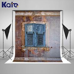 Kate blue Window retro backdrops for photography studio