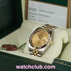 Rolex Datejust 36mm Gold & Steel - 'Brand New 2014' REF: 116233 | Year Apr 2014 Brand New - Under Rolex waranty until April 2016! Brand new, unworn and fully stickered, this current model 36mm gold & steel Datejust sports a classic champagne baton dial and is fitted to the latest gold & steel Jubilee bracelet with hidden crown clasp. Powered by Rolex's in-house chronometer rated automatic movement (cal.3136) and waterproof to 100m - for sale at Watch Club, 28 Old Bond Street, Mayfair, London