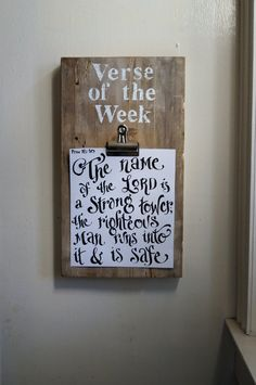 Verse of the Week Clip Board  Vintage Reclaimed Wood