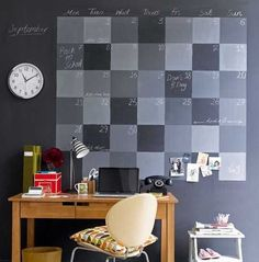 Good idea for a home office space using chalkboard paint