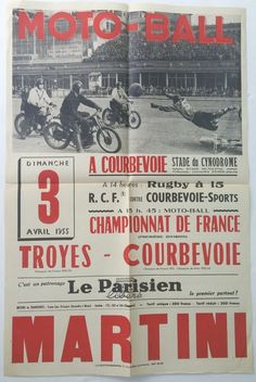 Vintage Motorcycle Poster Moto Ball France 1955 Triumph Guzzi Indian BSA 24 x 16