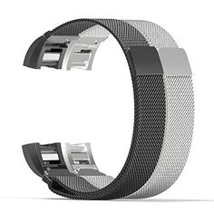 Fitbit Charge 2 Band MoKo 2PCS Milanese Loop Stainless Steel Bracelet Smart Watch Strap  Connector for 2016 Fitbit Charge 2 Heart Rate  Fitness Wristband Wrist Length 531866 Black  Silver -- See this great product. (This is an affiliate link) #FitnessTracker