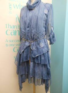 LAGENLOOK SILK HANKY HEM DRESS, LACE OVERLAY TUNIC  SCARF SET IN BLUE UK 10-16