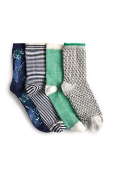 Blue/Green Floral Ankle Socks Four Pack
