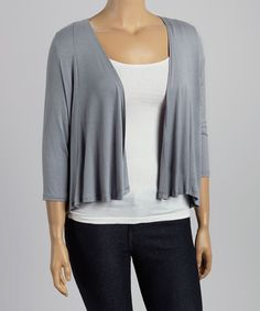 Gray Classic Open Cardigan - Plus