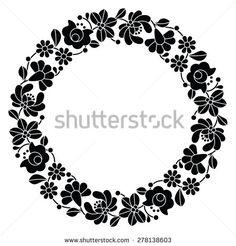 Kalocsai black embroidery in circle - Hungarian floral folk pattern