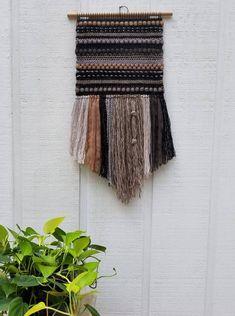 Large Wall Weaving Woven Wall Hanging Smoky Quartz Gemstone | Etsy Finger Weaving, Loom Weaving, Tapestry Weaving, Hand Weaving, Loom Crochet, Bohemian Wall Tapestry, Paper Lace, Woven Wall Hanging, Hand Dyed Yarn