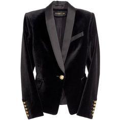 Pre-owned Balmain Tuxedo Jacket Black Velvet Blazer (5,820 MXN) ❤ liked on Polyvore featuring outerwear, jackets, blazers, black velvet, black velvet blazer, velvet tuxedo, black dinner jacket, tuxedo jacket and velvet tuxedo blazer