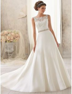 Satin Bateau Neckline A-line Wedding Dress with Lace Appliqued Illusion Bodice - Bridal Gowns - goodcheapweddingdress