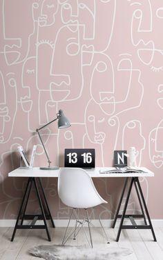 Pink Wallpaper Design, Designer Wallpaper, Face Line Drawing, Drawing Wallpaper, Pink Tone, Dusty Pink, Hot Pink, Interior, Branding Agency