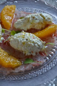 Tartare di gamberi rossi di Sicilia e burrata all'arancia
