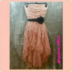 Hi Lo Formal Dress. Peach color. New. Beautiful peach dress with black bow. No snags, no rups, no stains. Excellent condition. New with tags. Deb Dresses High Low