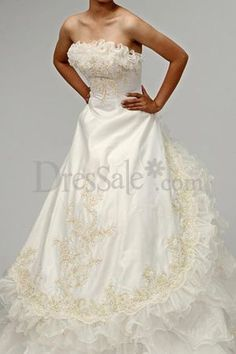 Embroidered Satin and Organza Bridal Formal Wear