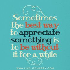 Sometimes the best way to appreciate something is to be without it for a while. by deeplifequotes, via Flickr