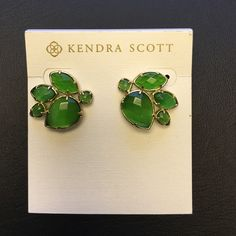 Kendra Scott green stone earrings!! Kendra Scott cluster earrings! Kendra Scott Jewelry Earrings
