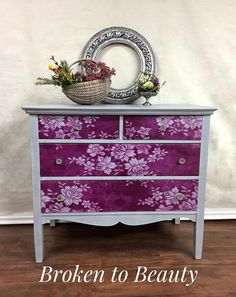 Vintage dresser painted with Annie Sloan paint and lace curtain used as stencil on front Purple Furniture, Chalk Paint Furniture, Furniture Projects, Cool Furniture, Stencils On Furniture, Lace Painted Furniture, Redoing Furniture, Refurbished Furniture, Repurposed Furniture