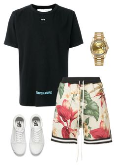 A menswear look from January 2018 featuring off white mens dress shirt, mens white leather sneakers and mens gold watches. Browse and shop related looks. Summer Shorts Outfits, Short Outfits, Gym Outfits, Tomboy Fashion, Men's Fashion, Fashion Outfits, Cool Outfits For Men, Warm Weather Outfits, Latest Mens Fashion