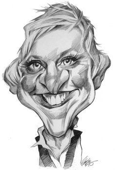 Ellen Degeners - pen & ink: