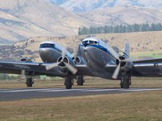 DC-3s at Warbirds Over Wanaka 2012  Type: Douglas C-47 Skytrain (DC-3) Registration: ZK-AMY  ZK-DAK Location: Wanaka Airport Date: 08/04/2012