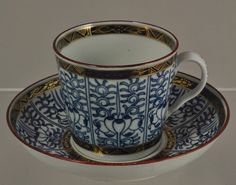 Antique Hand Painted Blue Worcester Royal Lily Coffee Cup and Saucer 1780 | eBay