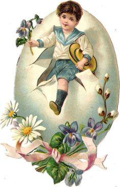 Glanzbilder - Victorian Die Cut - Victorian Scrap - Tube Victorienne - Glansbilleder - Plaatjes : Osterei mit Kind - easter egg with child -