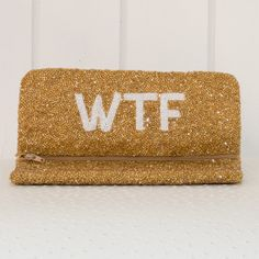 'WTF' Solid Monogram Beaded Clutch::: Your monogram on the outside and WTF on the inside:::