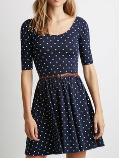 Navy Polka Dot Print Backless Belt Waist Skater Dress   Choies