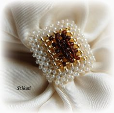 Beadwoven beige gold & brown seed bead ring $25.00