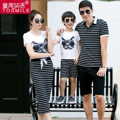 2016 Fashion Cotton Family Clothing Cat Tops + Striped Bottom Family Clothing Sets Parent-Child Clothes Family Style Set TL08   16.00