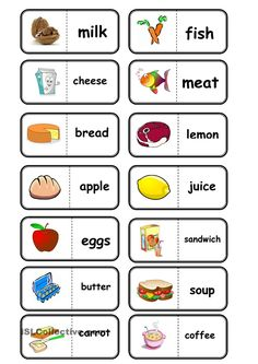 food, domino worksheet - Free ESL printable worksheets made by teachers Learning English For Kids, English Worksheets For Kids, English Lessons For Kids, Kids English, English Activities, Teaching English, Learn English, French Lessons, Spanish Lessons