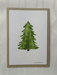 Hand Painted Watercolor Pine Tree Greeting Card, one of a kind, green by thebeeandbug on Etsy