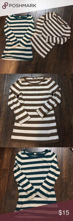 2 J. Crew rugby striped shirts 1 dark teal and 1 brown striped rugby style shirt J. Crew Tops Tees - Long Sleeve