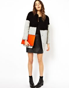 ASOS Petite   ASOS PETITE Exclusive Faux Fur and Textured Fabric Cocoon Coat at ASOS