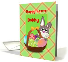 Happy Easter/Bunny and Basket/Custom Name card