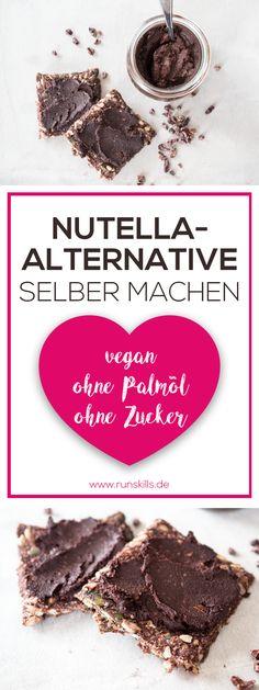Du bist auf der Suche nach einer Alternative zu Nutella? Dieser Schokoaufstrich ist kinderleicht nachzumachen – kein backen, kein kochen. Einfach alle Zutaten zusammenschmeißen und pürieren. Der Schokoladenaufstrich ist vegan, ohne Palmöl und ohne weißen Zucker. Viel Spaß mit dem Rezept und Guten Appetit! #vegan #nutella #veganerezepte