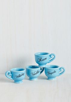 Pinkies Out Shot Glass Set. If ever there were a doubt that youre the classiest gal among your comrades, these blue shot glasses will clear things up. #blue #modcloth
