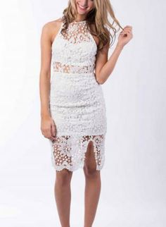 Fitted Midi Length Lace Dress,  Dress, lace  floral  body con  dress, Chic #white #lace #midlength #dress #summer #fashion #cute #love www.UsTrendy.com